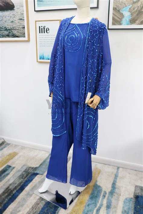 Royal blue beaded Mother of the bride pant suits Plus size
