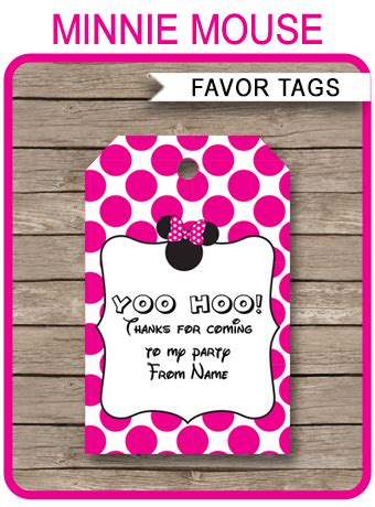 Minnie Mouse Party Favor Tags | Thank You Tags | Birthday