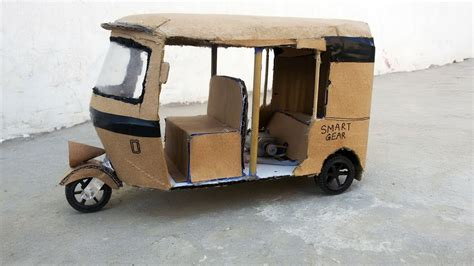 How to Make Real Auto Rickshaw || At Home with cardboard