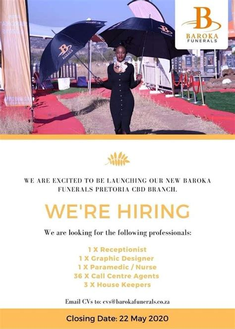Baroka Funerals Vacancies for South Africans 2020   Latest