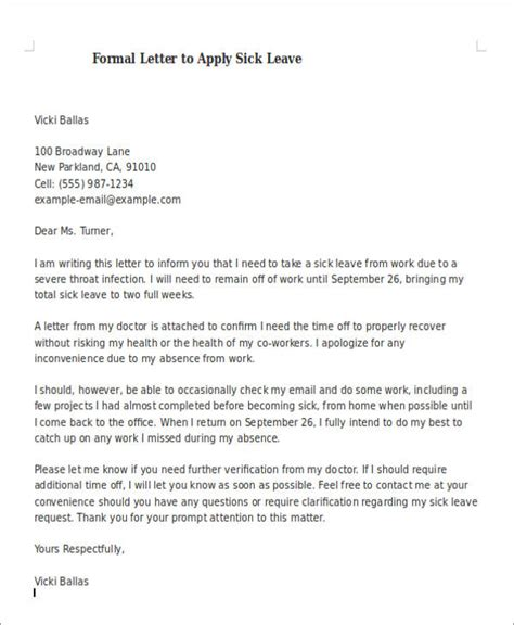 FREE 8+ Formal Sick Leave Letter Templates in PDF | MS