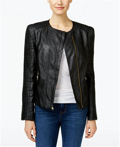 INC International Concepts Faux-Leather Moto Jacket, Only