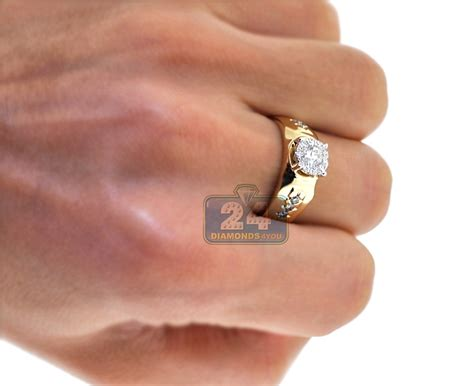 Mens Diamond Solitaire Pinky Ring Solid 14K Yellow Gold 0