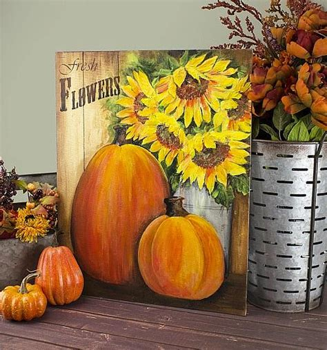 Sunflowers and Pumpkins Canvas - Project by DecoArt