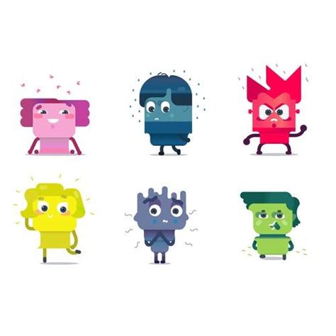 Character designs by Uxie representing different emotions