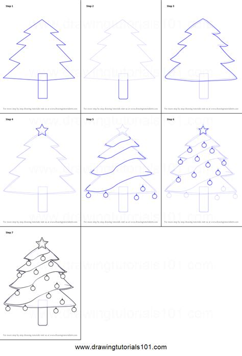 How to Draw Decorated Christmas Tree printable step by