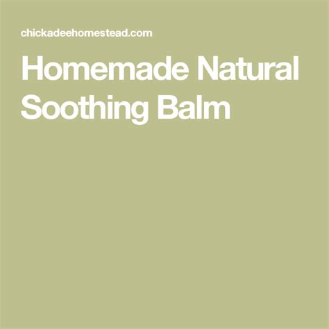 Homemade Natural Soothing Balm | Diy essential oil recipes