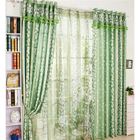 Green Chic Floral Decorative Patio Door Curtains