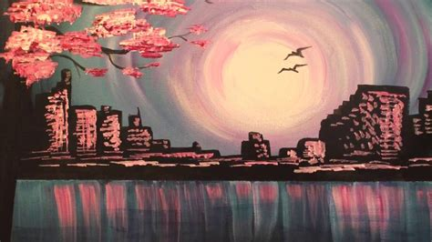 Evening Skyline- fast & easy acrylic painting tutorial for