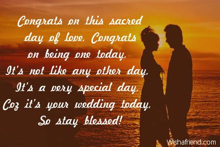 Congrats on this sacred day of, Wedding Congratulations