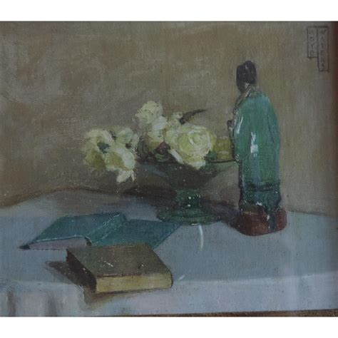 Small 1930 Art Deco Still Life Oil Painting of a Chinese