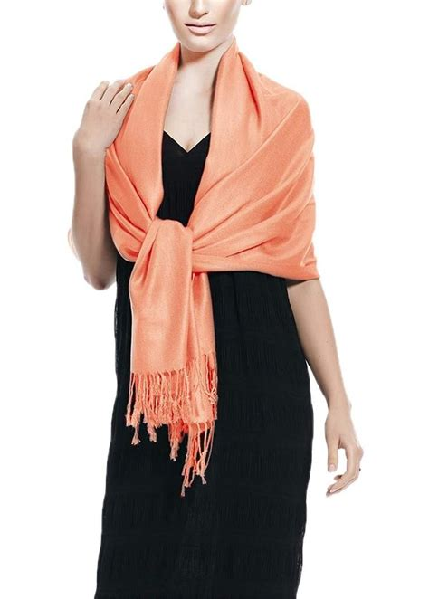 Coral Solid Pashmina Shawl Wrap - Peach Couture