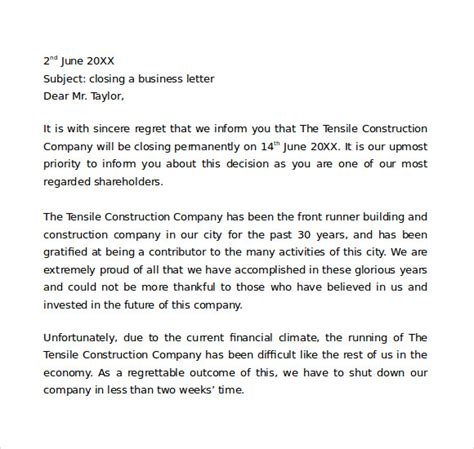7+ Sample Closing Business Letters | Sample Templates