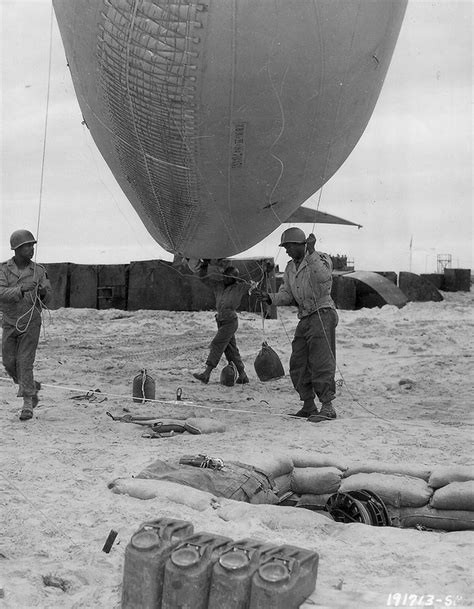 The 320th Barrage Balloon Battalion with a barrage balloon