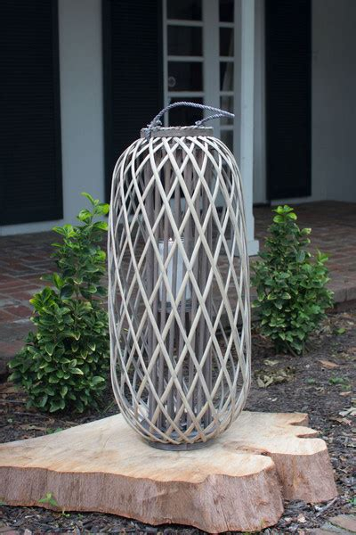tall grey willow lanterns with glass x-large