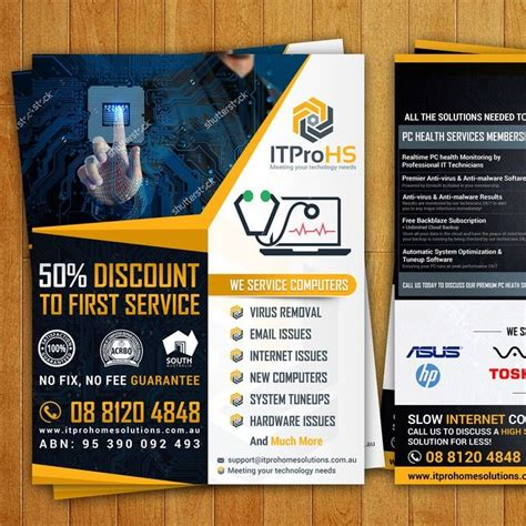 Create a modern flyer for a Computer Repair and Services