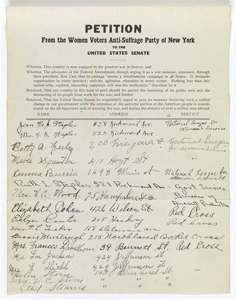 Petition from the Women Voters Anti-Suffrage Party of New