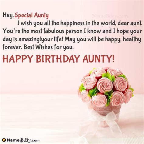 Happy Birthday Special Aunty Image of Cake, Card, Wishes