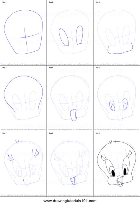 How to Draw Tweety Bird Face printable step by step